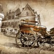 Medieval castle with carriage - vintage picture — Stock Photo #18315845