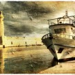 Peaceful quay - toned picture in retro style - Photo