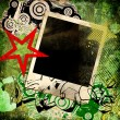 Grunge trendy background with instant frame and graffiti elements - Stock Photo