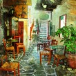Pictorial greek villages artwork in retro style - Photo