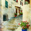 Pictorial greek villages artwork in retro style - Stok fotoğraf