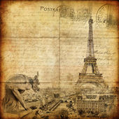 Retro card ,Paris, view from Notredame cathedral — Stock Photo