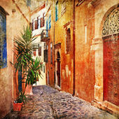 Old pictorial greek streets - vintage artistic series — Stock Photo