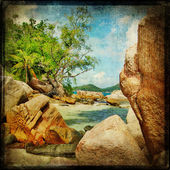 Seychelles rocky beach - retro styled picture — Stock Photo