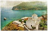 Skopelos island,Greece - retro styled picture — Stock Photo