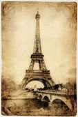 Vintage Parisian cards series -Eiffel tower — Stock Photo