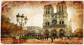 Notre dame cathedral - retro styled picture — Stock Photo