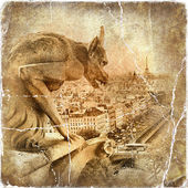 View of Paris from Notre dame - artwork in retro style — Stock Photo