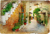 Charming old greek streets — Stock Photo
