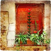 Old windows of Greece - retro series — Stock Photo