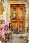 Pictorial old greek streets with tavernas - retro styled picture — Stock Photo
