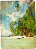 Tropical beach - vintage picture — Stock Photo