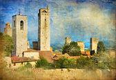 Grands monuments italiens peint série - san gimignano — Photo