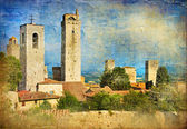 Great italian landmarks painted series - San Gimignano — Photo