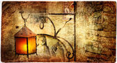 Old lantern - picture in retro style — Stock Photo