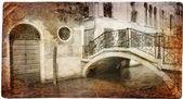 Série de points de repère européen - carte vintage-venise — Photo