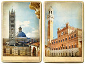 Old Italy - Siena, retro cards — Stock Photo