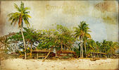 Tropical beach -retro styled picture — Stock Photo
