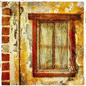 Old traditional greek doors - artwork in painting style — Stock Photo