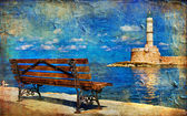 Light house and bench (Chania Crete) - artistic picture — Stock Photo