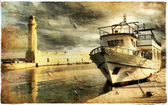 Peaceful quay - toned picture in retro style — Stock Photo