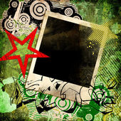 Grunge trendy background with instant frame and graffiti elements — Stock Photo