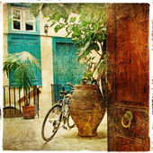 Pictorial greek villages artwork in retro style — Stock Photo