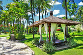 Peaceful relaxing territory on balinese resort — Stock Photo