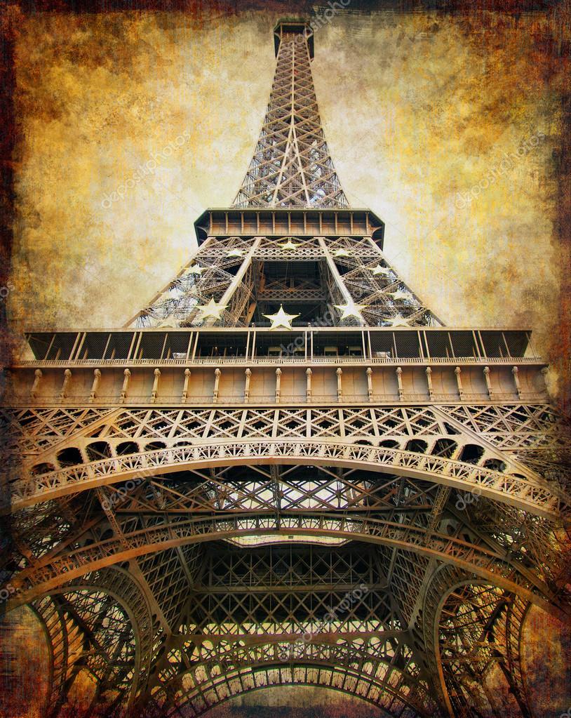 复古风格背景-埃菲尔铁塔