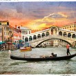 Venetian sunset, artwork in  panting style - Stock Photo