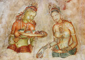 Cave painting inside the ancient Cave temple, Sri Lanka — Stock Photo