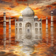 Incredible India - Tadj mahal on sunset - Stock Photo