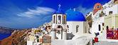 Panorama of beautiful Oia village - Santorini,Greece — Stock Photo