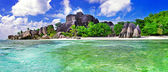 Amazing Seychelles. La Digue island — Stock Photo
