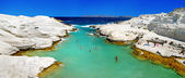 Sarakiniko beach in beautiful island of Milos, Greece — Stock Photo