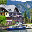 Lakes of Austria .view with yacht and villa. st Gilgen — Stock Photo