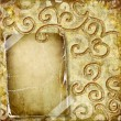 Vintage golden background with blank frame — Photo