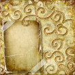 Vintage golden background with blank frame — Stock Photo