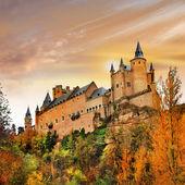Sunset over Alcazar castle, Spain, Segovia — Stock Photo