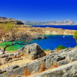 Scenic Greece - Rhodes island, Lindos bay — Stock Photo