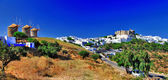 Poanoramic view of Chora town and windmills — Stock Photo