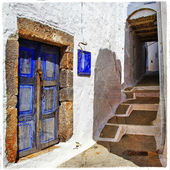 Traditional Greek islands streets, Patmos — Stock Photo