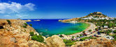 Panoramic view of Lindos bay, Rhodes island, Greece — Stock Photo