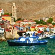Halki - colorful small traditional island of Dodecanese, Greece — Foto de Stock