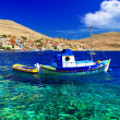 Tranquil scene of Greek islands. Halki. Dodecanese — Stock Photo