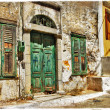 Charming old streets of Greek islands — Stock Photo