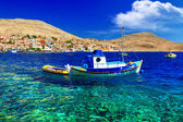 Tranquil scene of Greek islands. Halki. Dodecanese — Stock Photo
