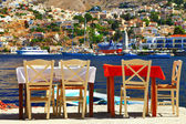 Traditional Greece - tavernas near sea. — Stock Photo