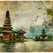Mysterious Balinese temples, artwork in painting style — Stock Photo