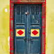Traditional colorful doors of Santorini — Stock Photo